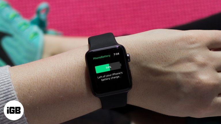 Как показать процент заряда батареи iPhone на Apple Watch