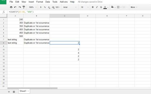 Как считать дубликаты в Google Sheets