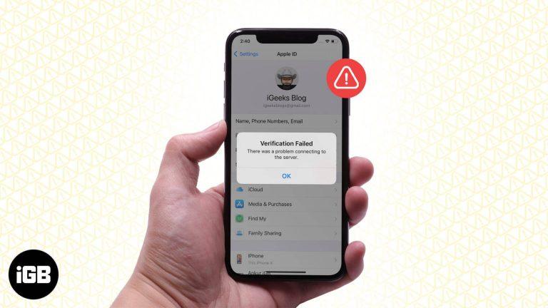 Исправить ошибку проверки, произошла ошибка при подключении к серверу Apple ID