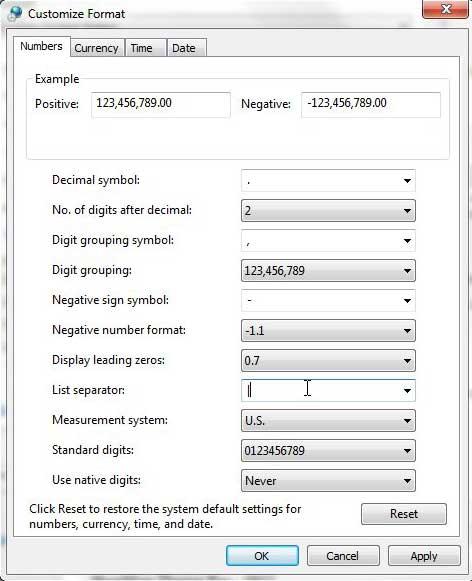 Измените разделитель списков Windows 7