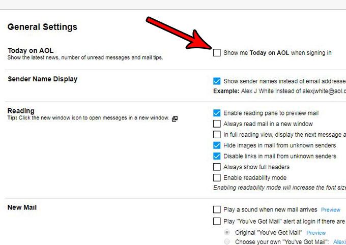 Как открыть почту AOL с помощью папки «Входящие» вместо «Сегодня в AOL»