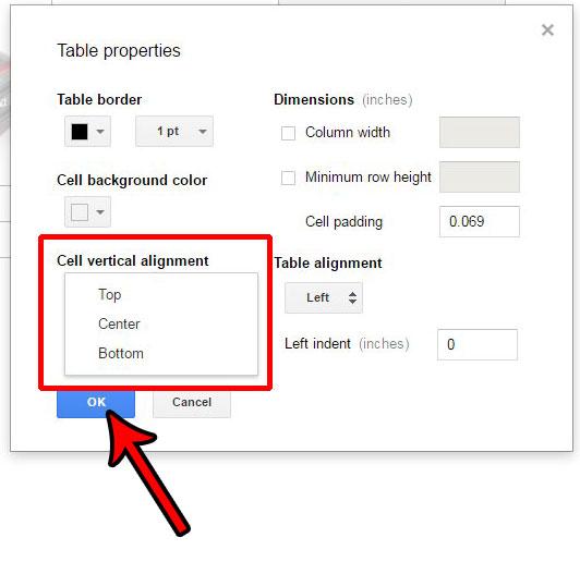 Как изменить вертикальное выравнивание ячеек таблицы в Google Документах