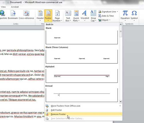 Как удалить нижний колонтитул в Microsoft Word 2010