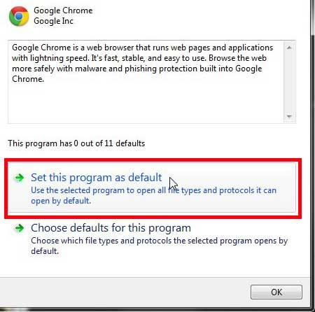 Установите Google Chrome в качестве браузера по умолчанию в Windows 7