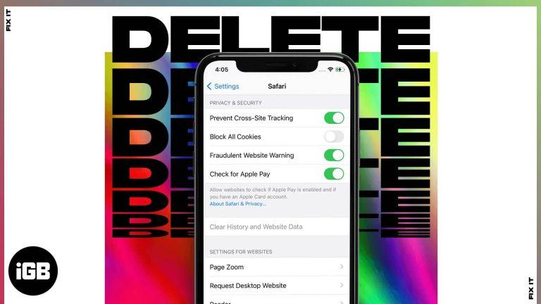 Очистить историю и данные веб-сайтов, выделенные серым цветом в Safari на iPhone