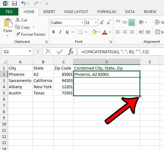 Как объединить три столбца в один в Excel 2013