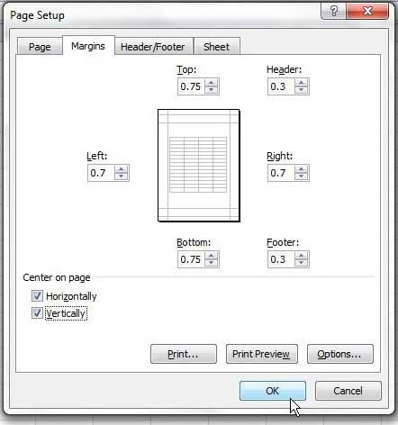 Как центрировать лист по горизонтали и вертикали в Excel 2010