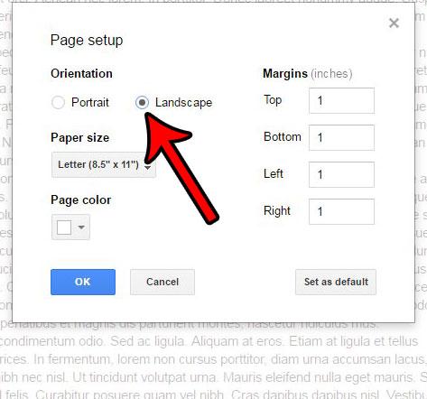 Как изменить ориентацию на альбомную в Google Документах