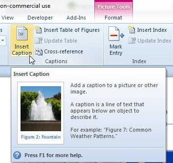 Как вставить подпись к изображению в Word 2010