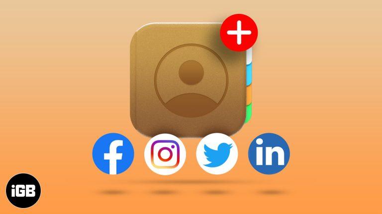 Как добавить социальные профили в контакты iPhone