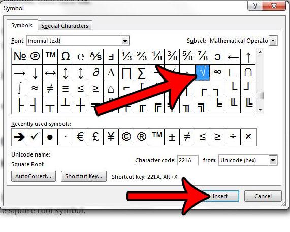 Как вставить символ квадратного корня в Word