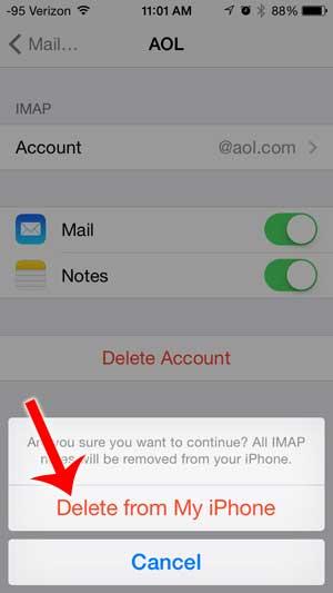 Как удалить учетную запись электронной почты AOL с iPhone