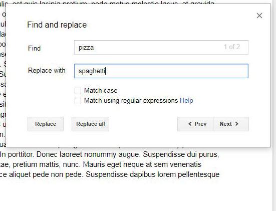Как найти и заменить в Google Документах