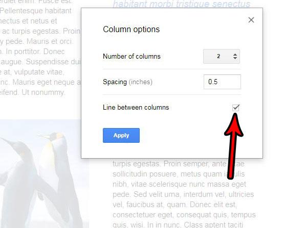 Как поставить черту между столбцами в Google Документах