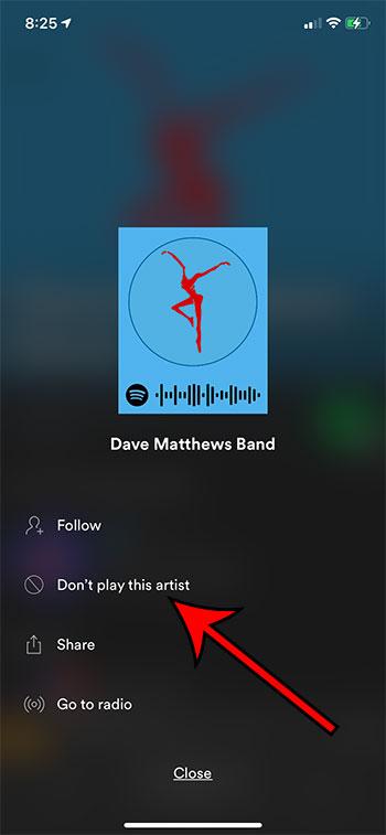 Как перестать играть артиста в Spotify на iPhone