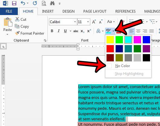 Как убрать выделение текста в Word 2013