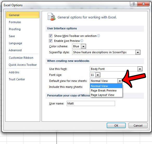 Как сделать макет страницы видом по умолчанию в Excel 2010