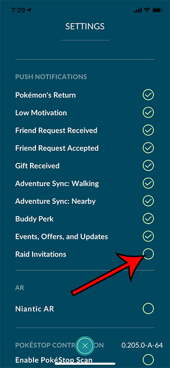 Как отключить приглашения в рейд в Pokemon Go на iPhone