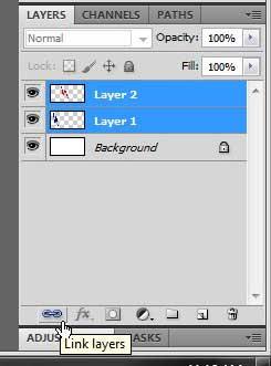 Как связать два слоя в Photoshop CS5