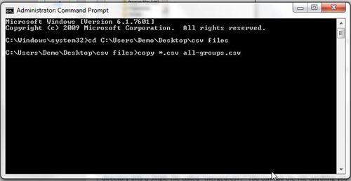 Объединение файлов CSV в один большой файл CSV в Windows 7