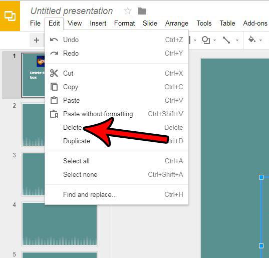 Как удалить текстовое поле в Google Slides