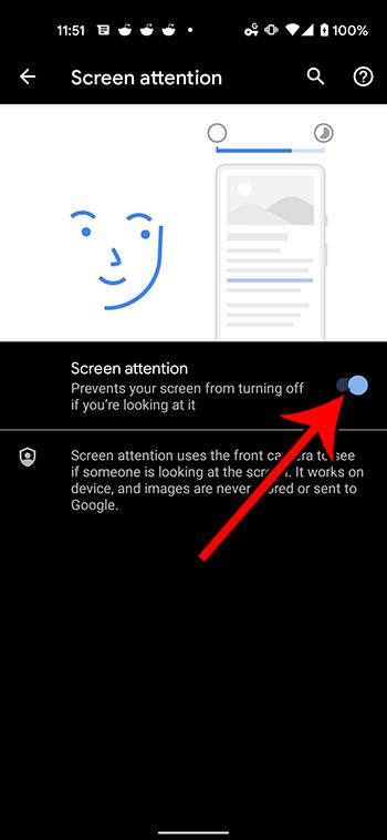 Как включить внимание экрана на Google Pixel 4A