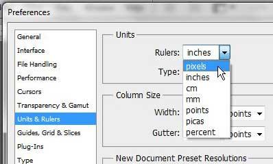 Adobe Photoshop – изменить линейку на пиксели с дюймов
