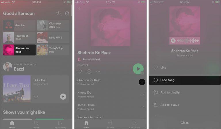 Как скрыть и показать песни в Spotify на iPhone и Android