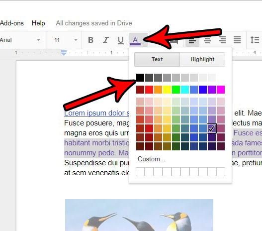 Как удалить цвет текста в Google Документах