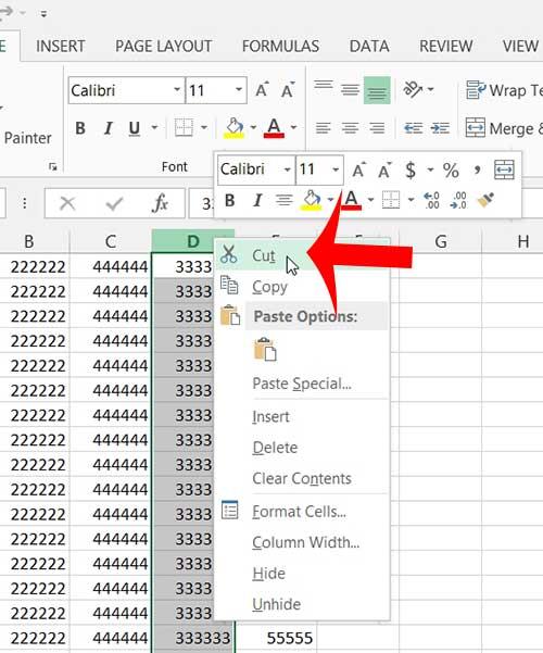 Как переместить столбец в Excel 2013