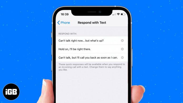 Как настроить ответ на собственные сообщения на входящие звонки на iPhone