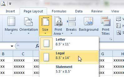 Как печатать на бумаге Legal в Excel 2010