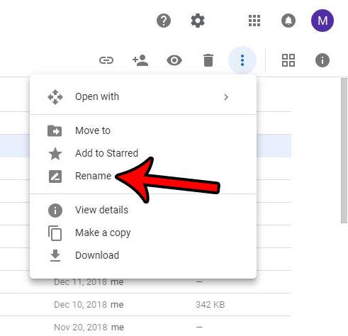 Как изменить имя файла на Google Диске