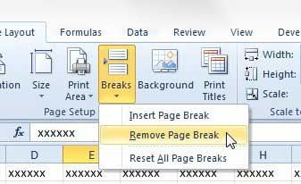 Как удалить разрыв страницы в Excel 2010