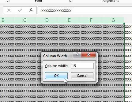 Как изменить ширину нескольких столбцов в Excel 2013