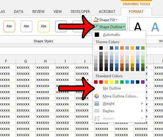 Как удалить границу текстового поля в Excel 2013