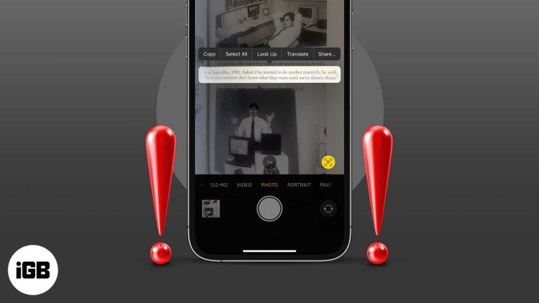Live Text не работает в iOS 15?  Как это исправить