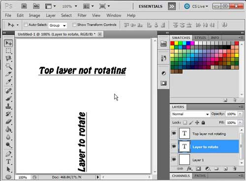 Как повернуть слои в Photoshop CS5
